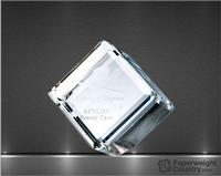 2 3/4 x 2 3/4 x 2 3/4 Inch Beveled Optic Crystal Diamond Cube Paperweight