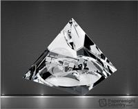 "2"" x 2"" Globe Pyramid Optic Crystal Paperweight"