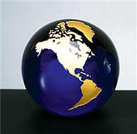 Cobalt Blue Molten Glass World Globe with Gold