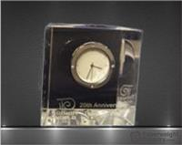 3 x 3 1/8 x 1 3/8 Inch Slanted Optic Crystal Block Clock Paperweight