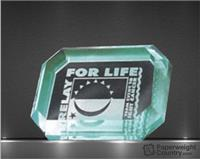 1 x 4 x 3 Inch Jade Reverse Engraved Acrylic Paperweight