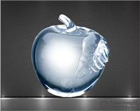 2 7/8 x 2 3/4 x 2 3/4 Inch Molten Glass Apple with Clear Leaf Paperweight