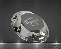 4 x 2 7/8 Inch Diamond Optic Crystal Paperweight