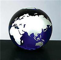 Cobalt Blue Molten Glass World Globe with Silver