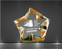 4 1/4 x 4 1/2 x 1 1/2 Inch Multi Faceted Gold Sparkling Star Acrylic Paperweight